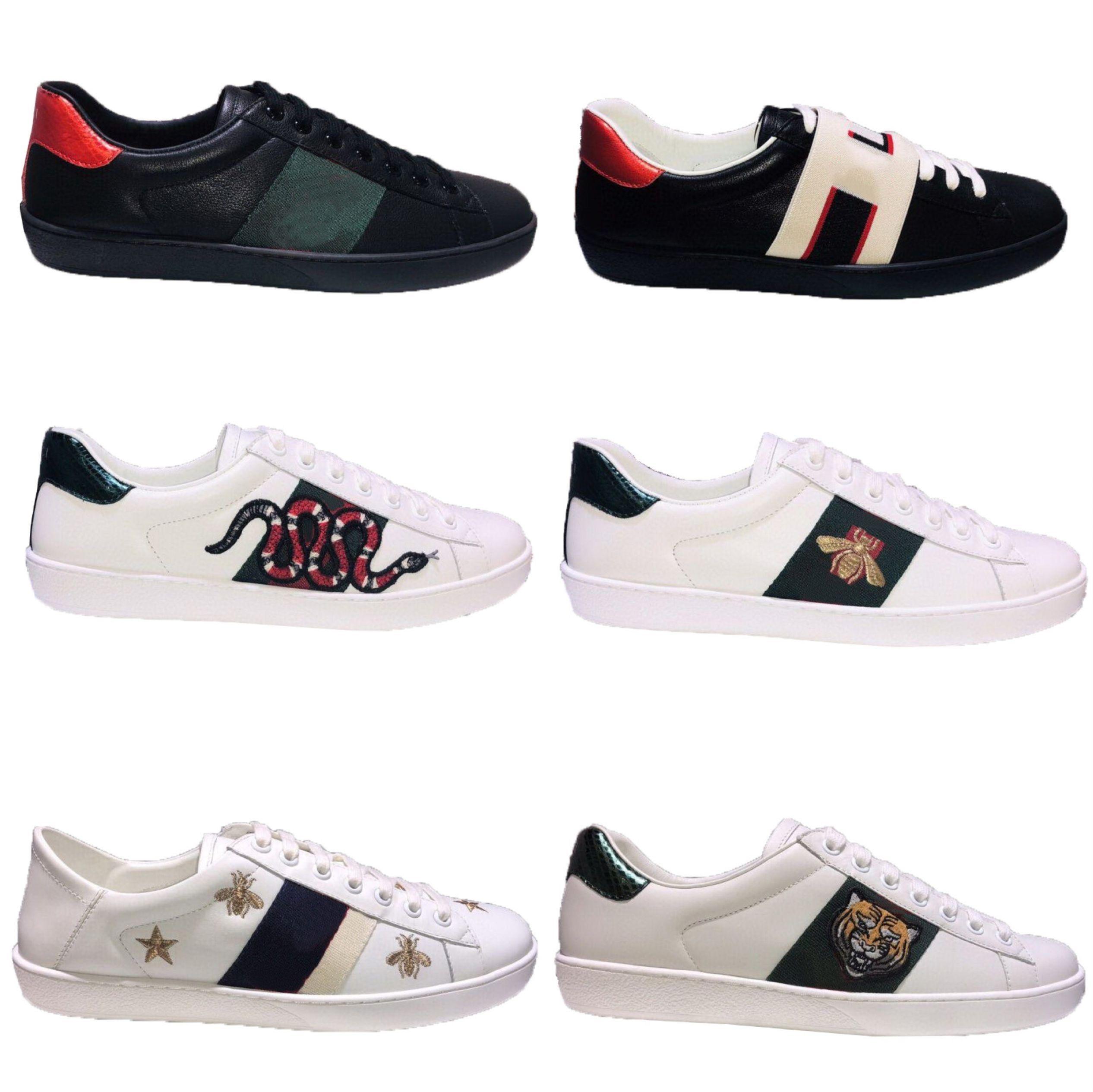 Luxurys desginters homens mulheres chegada tênis sapatos casuais top qualidade genuíno couro ace abelha bordado desginer sapatilhas tamanho 35-46