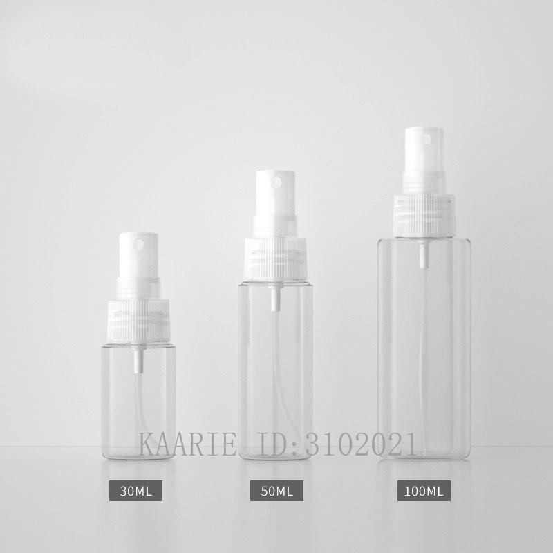 30ml50ml100ml 50pcs Vuoto PETG Viaggi Spray Bottiglia, fai da te riutilizzabile della stampa Comodo Mist Container, portatile cosmetici pacchetto