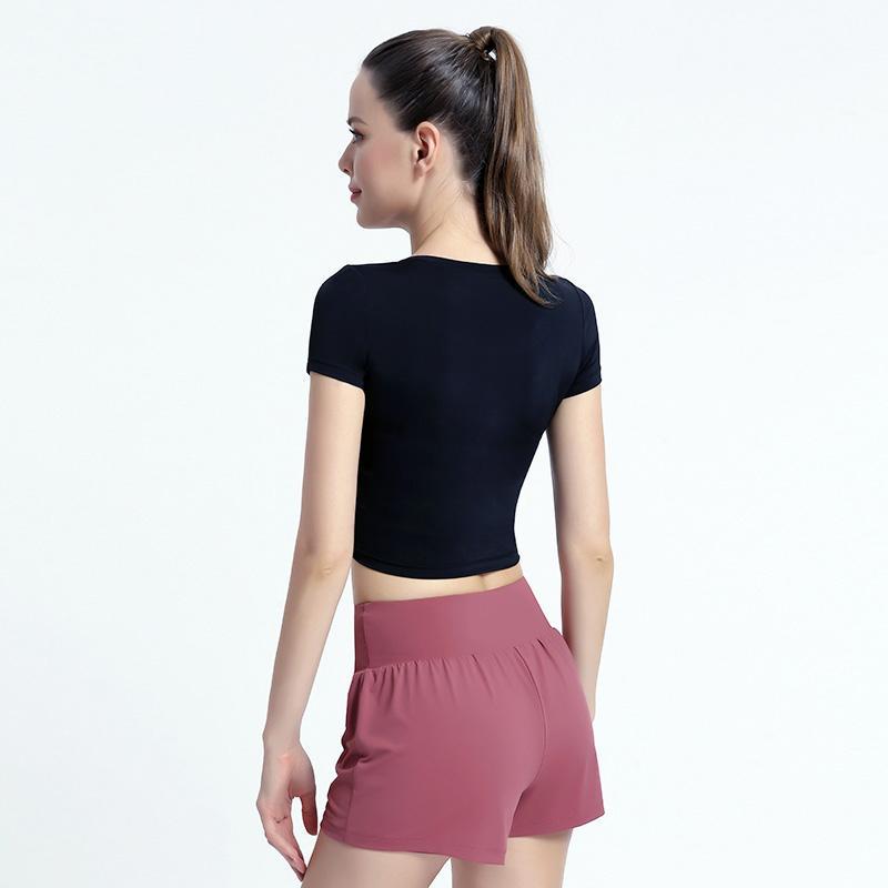 Vente chaude T-shirts Sports pour Femmes Yoga Porter une manches courtes Fitness Corps rond manche courte manches courtes femmes printemps et été mince de yoga