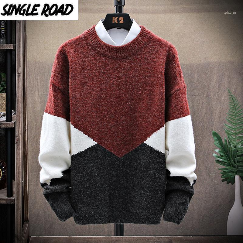 Singleroad Hombre de punto suéter de punto 2020 invierno navidad remiendo suéteres jersey jumper harajuku coreano rojo suéter me1