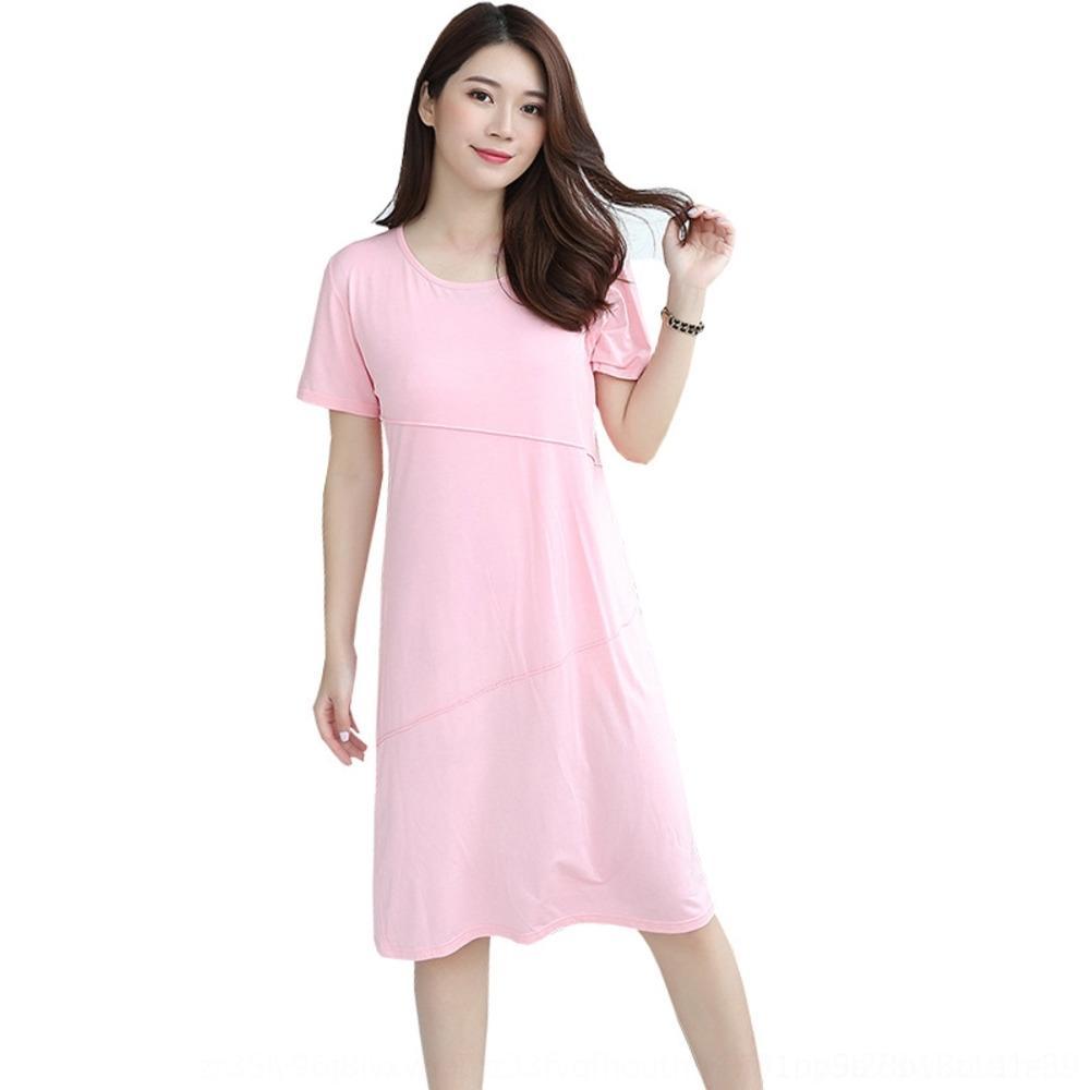 wLiux Nueva mWtSv nuevo vestido de manga corta grande 2020 de las mujeres con cuello redondo y el vestido modal delgada verano
