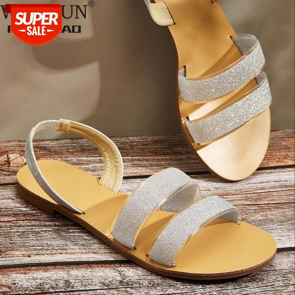 Плюс размер 36-42 летних женщин сандалии лаконичный стиль эластичные полосы пляжные туфли женщин гладиатор плоские сандалии обувь # VY5L