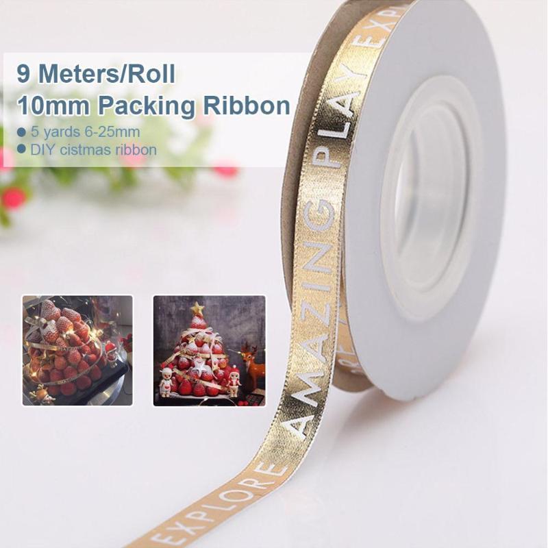 10 мм 9м Дар любви напечатанные полиэстер ленты для свадьбы рождественские украшения вечеринки DIY карточные подарки упаковки1