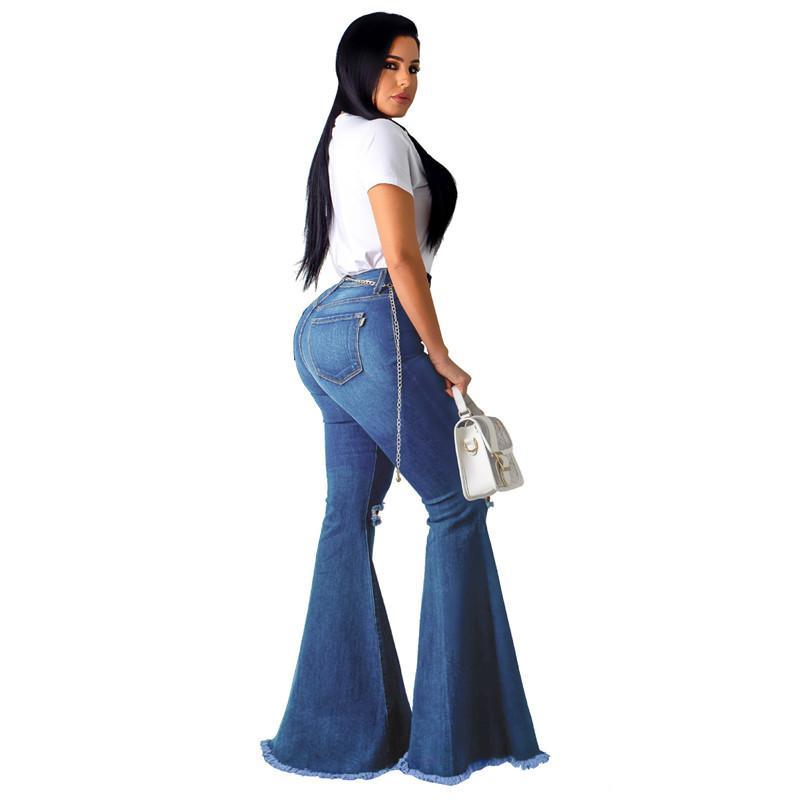 Mulheres Denim cintura alta alargamento Namorado rasgado calca Lady magros fundo sino calças perna larga Mom de jeans Plus Size 201006