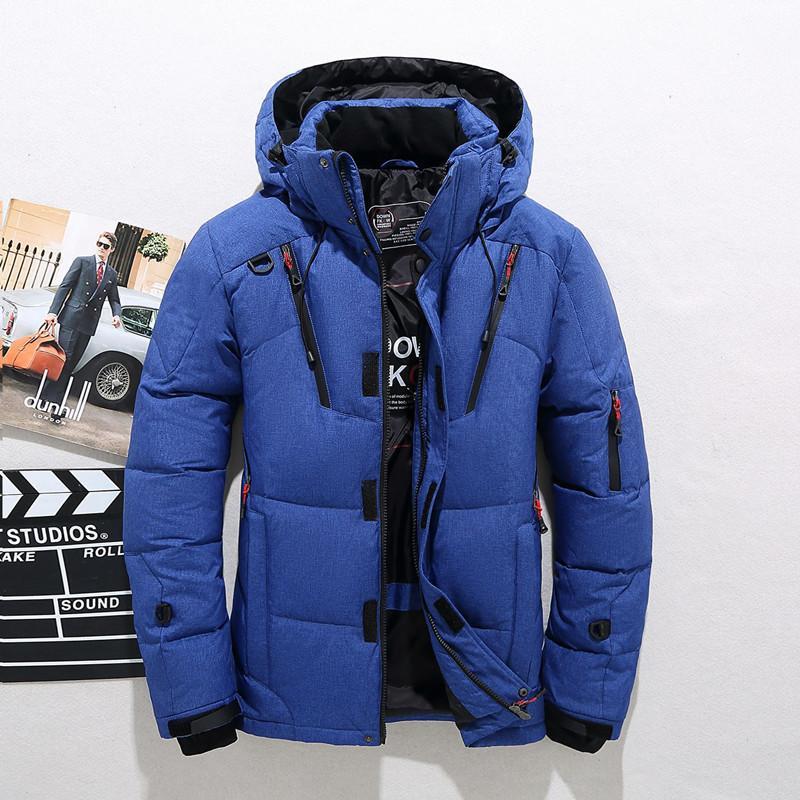 jaqueta masculina agente de recrutamento pato curto branco frio ao ar livre com capuz de espessura e juventude quente roupas azuis