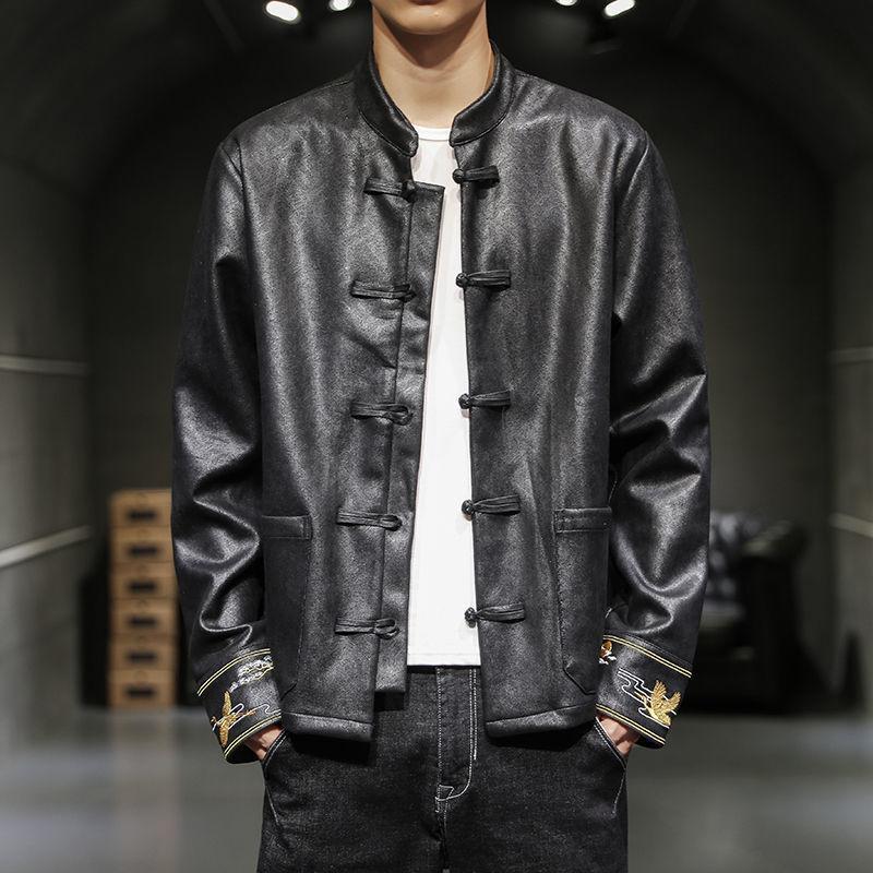 Hybskr Adam İşlemeli Çin Tarzı Rüzgarlık erkek Büyük Boy Ceketler Streetwear Erkekler Casual Gevşek Moda Ceketler