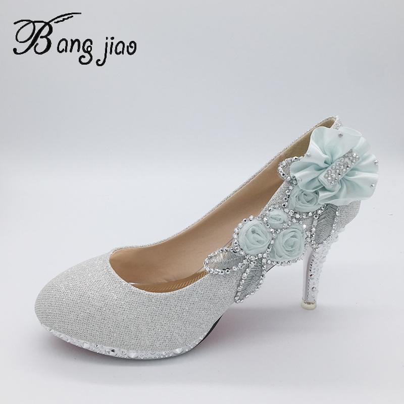 Bombas de flores Novas mulheres sapatos de casamento noiva saltos altos plataforma de cristal sapatos para mulher senhoras vestido de festa tacones mujer