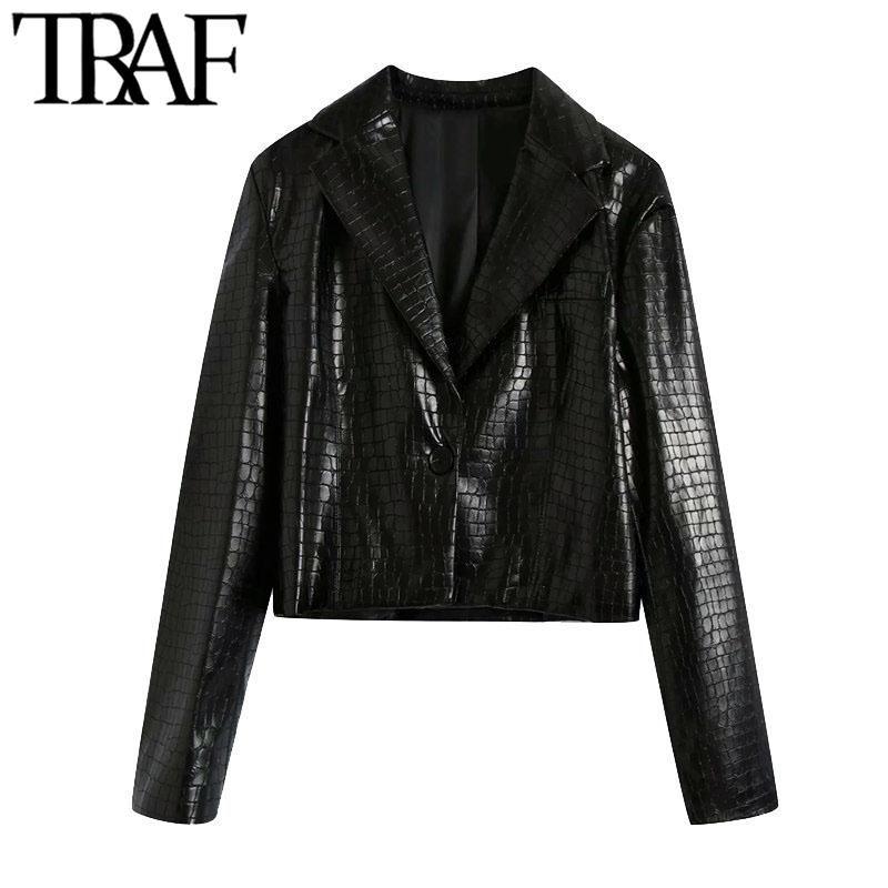 TRAF Kadınlar Moda Faux Deri Kırpılmış Blazer Coat Vintage Uzun Kollu Tek Düğme Kadın Giyim Şık Tops