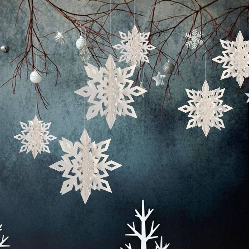 6pcs Snowflakes Arbre de Noël 3D en plastique Glitter Faux neige Décorations de Noël Pendentif Parti Decoracion Navidad GEA6 #