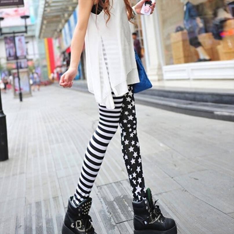 Femmes de femmes Stripe Etoiles Leggings taille élastique extensible Crayon Pantalons jeggings Drop Shipping Bonne qualité