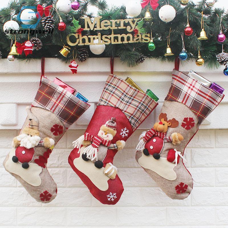 Strongwell Рождественская вечеринка украшения Санта Носок ручной Нетканые ткани мешок подарка рождества Presend Для детей Домашние декорации