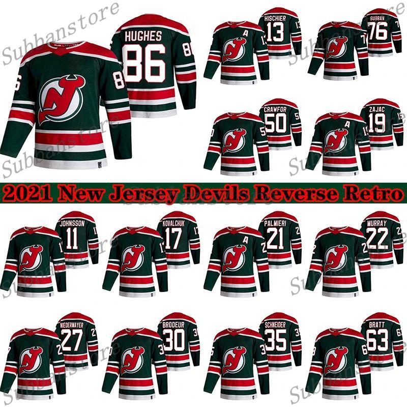 New Jersey Devils Jersey 2021 Retro Retro 76 P. K. Subban 86 Jack Hughes 19 Travis Zajac 13 Nico Hischier Hokey Formaları