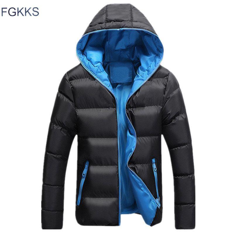 FGKKS hombres Parkas caliente a prueba de viento de invierno Montañismo capa masculina del color sólido de la moda con capucha gruesa cómodo Parka 201023