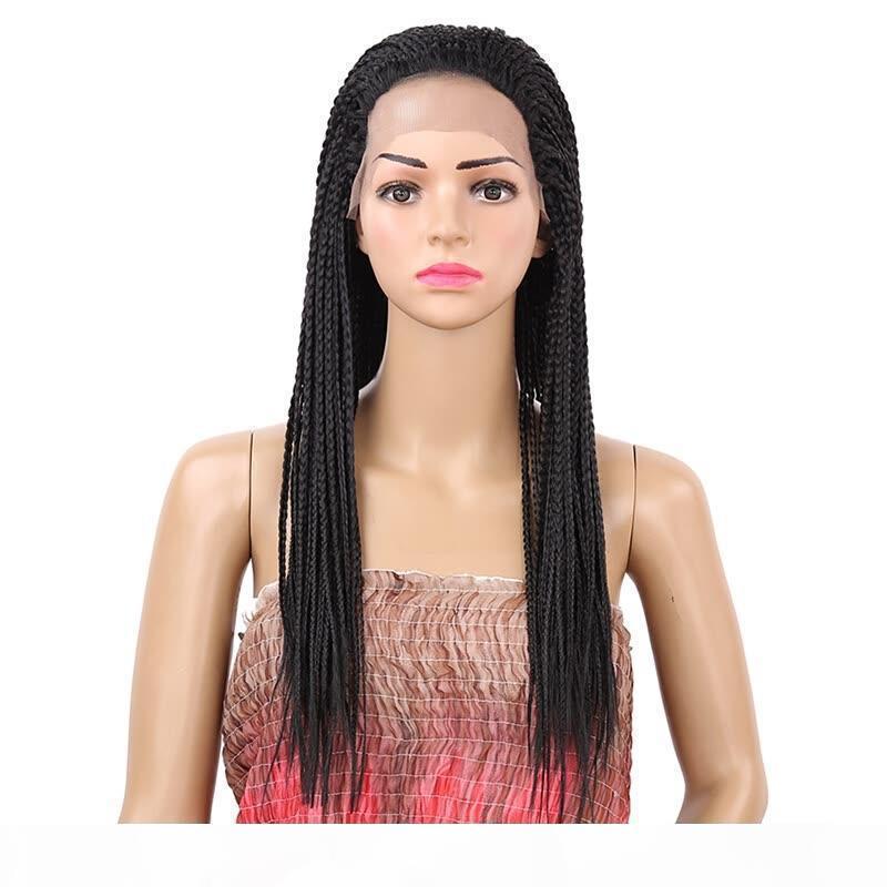 Pelucas trenzadas africanas con cordones sintéticos sin glotura resistente al calor trenzas de fibra de pelo sintético peluca frontal para mujeres negras