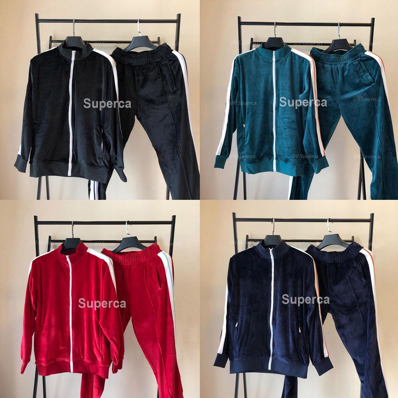 Hombre diseñadores ropa 20ss terciopelo a los hombres chándales hombres chaqueta chaqueta con capucha con pantalones hombres ropa deportiva Sudaderas con capucha chándalsuits para hombre abrigo de invierno
