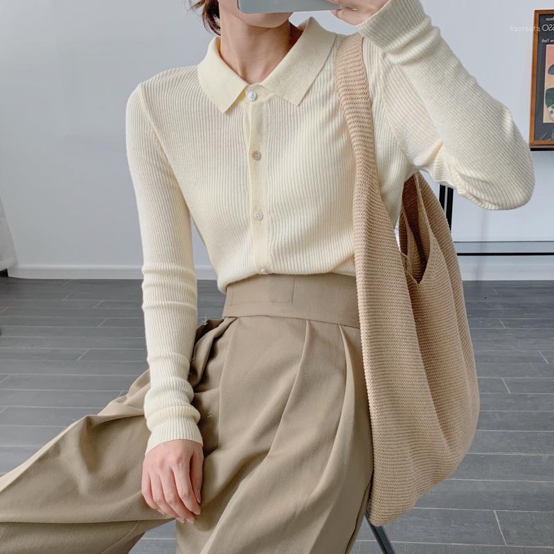 Damengestrickte Hemd-Hals-Hals-Herbst 2020 neue gestrickte Strickjacke innerhalb des Außenmantels Base Shirt Mantel 1