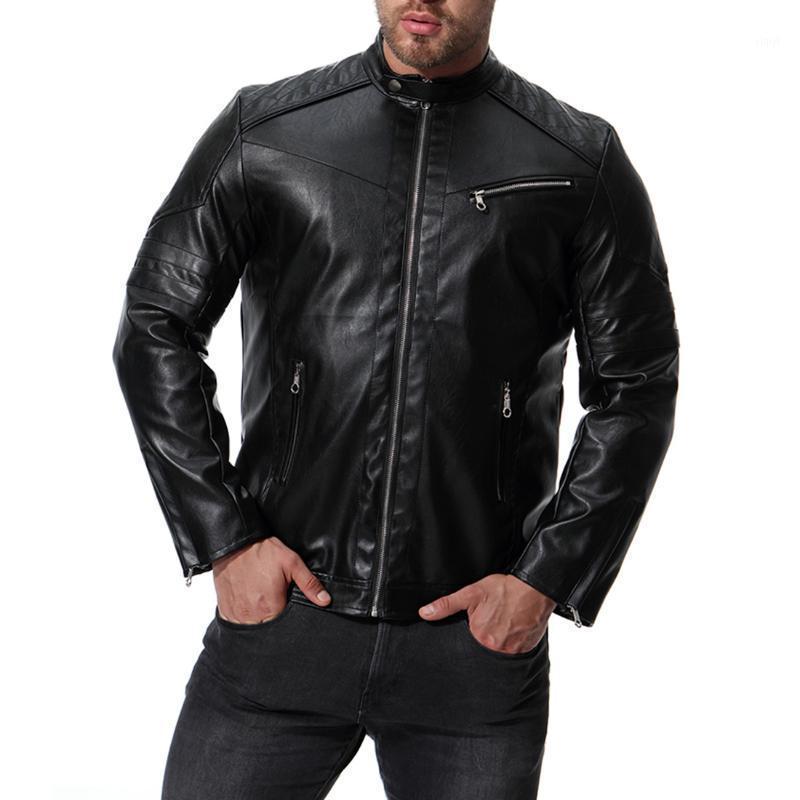 Tang Cool Classic Punk Wind Lederjacke Männer 2020 Herbst Reißverschluss Herren Schwarz Lederjacke Slim Fit Banded Motorcycle1