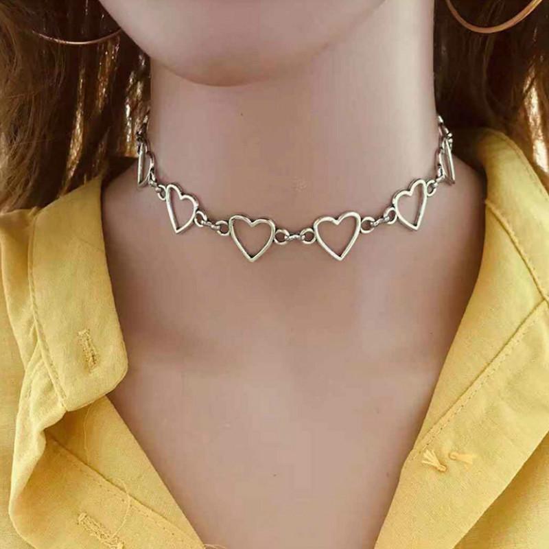 المختنقون duftgold هندسية قصيرة جوفاء القلب المختنق القلائد بسيطة أنيقة الأزياء قلادة للنساء مجوهرات اكسسوارات schmuck