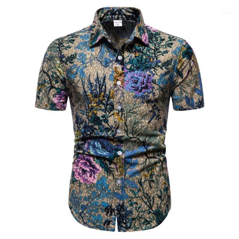 2020cs7 Camisa Impressão Casual Homens Camisa Curta Manga Camisa Lapela Top Men's1