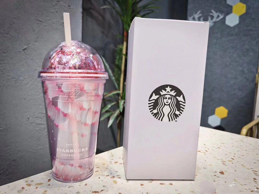 500 ml Sevimli Sakura Starbucks Kupalar Çift Plastik Ile Payet Çocuklar Için Pet Malzeme Yetişkin KızFirend Hediye Ürünleri