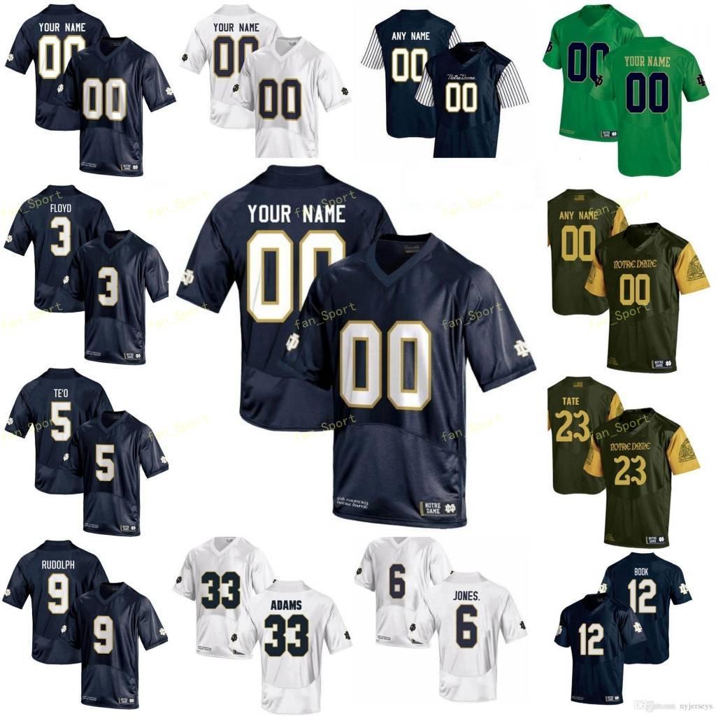 Custom College Football Jersey 40 Draw White 5 Manti Te'o 6 Jerome Bettis 6 Equanimeous St. Crown Men Женщины Молодежные дети сшитые