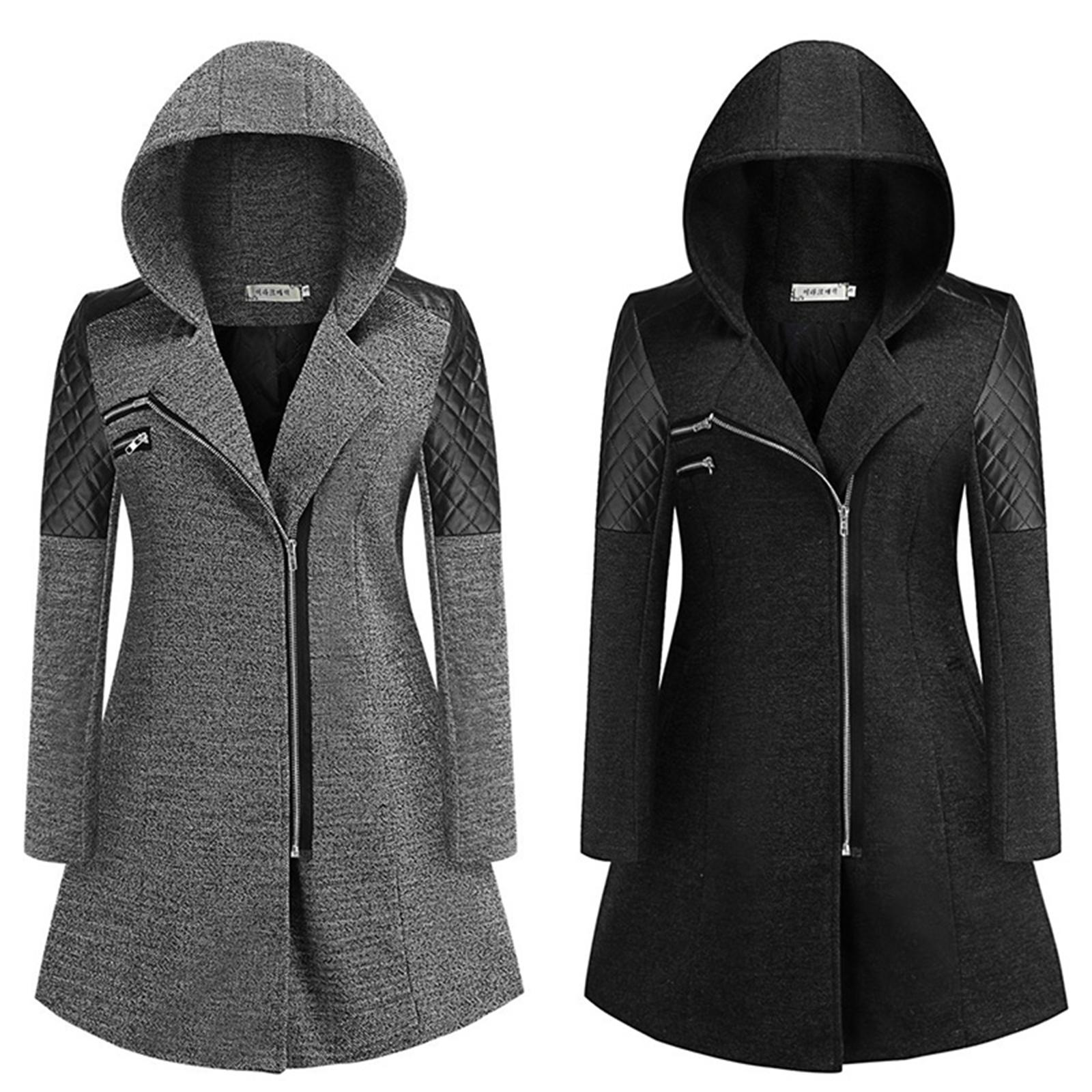 Veste cool avec capuche à manches longues avec fermeture à glissière pour femmes pour hiver Tops chauds