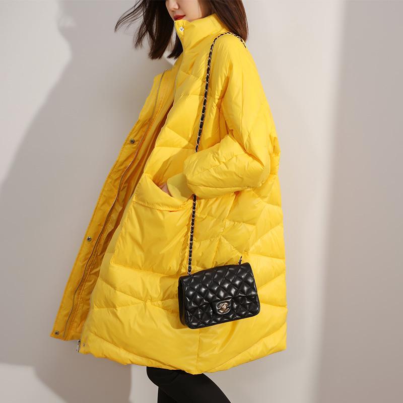 Camice bianco oversize Donne nero Femmina casacca 2020 Lunga Giallo parka casuali di inverno caldo Outwear Red Yrf61