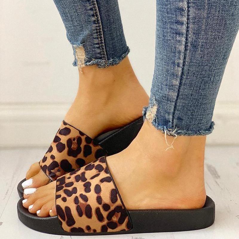 Zapatillas zapatos de las mujeres 2020 de las señoras del estampado leopardo de planos ocasionales deslizadores de las sandalias de playa zapatos de interior al aire libre chanclas de playa aV56 #