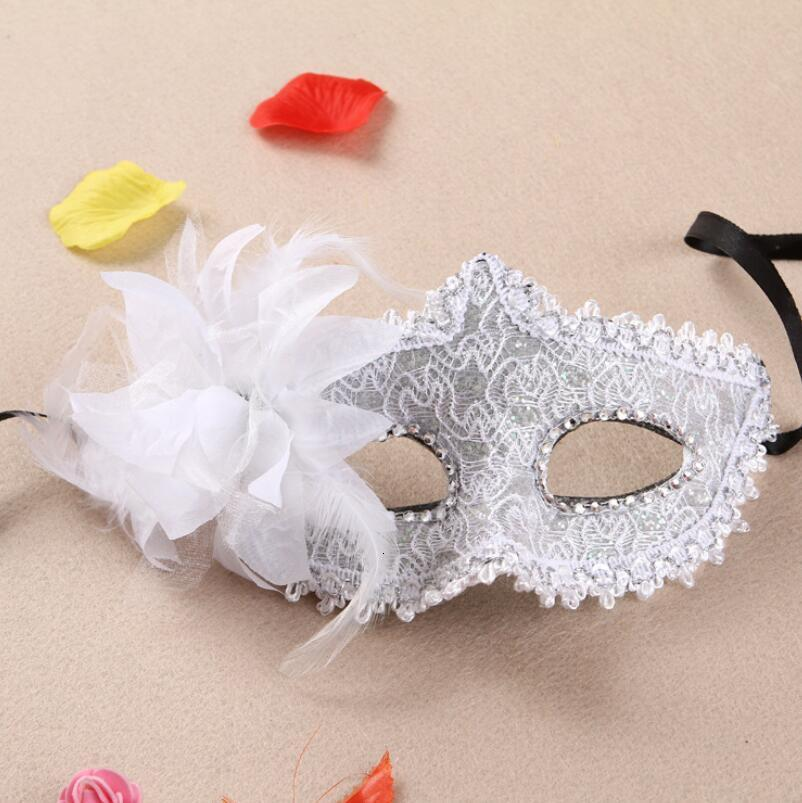12 Colors Side Flower Mask Masquerade Masks Dance Party Venice Princess Mask High-grade Party Supplies Lx7038