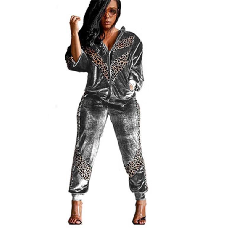Señoras de oro conjuntos de terciopelo tendencia de la moda leopardo de empalme manga larga de la cremallera camisetas Pantalones femeninos trajes de diseño conjuntos de piezas flojo ocasional dos