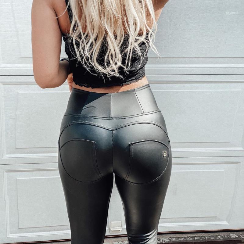 Melody Best Faux Cuero Formando Pantalones de Yoga Pantalones Skinny Pantalones Compresión Runny Skinny Sin fisuras Body BodEwewear1