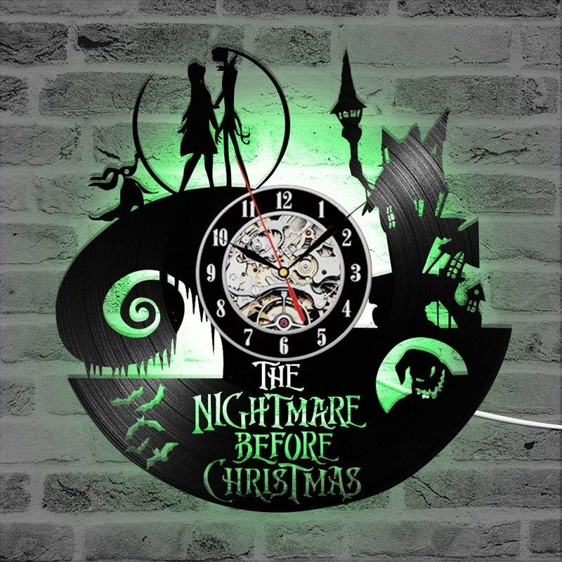 Horloge murale en vinyle vintage avec 7 LED allumant le cauchemar avant Noël LED mural Horloge Art Suspension Montre Accueil Décor Y200109