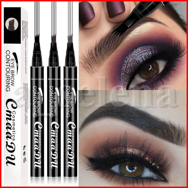 CmaaDu liquide Sourcils Pen liquide Sourcils Enhancer 3 Couleurs 4 tête Sourcils Enhancer longue durée Remodelage du front de Waterproof