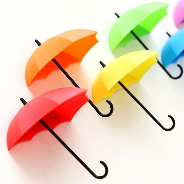 3шт красочный зонтик настенный крючок ключ держатель для волос органайзер декоративный организатор (размер: один размер)
