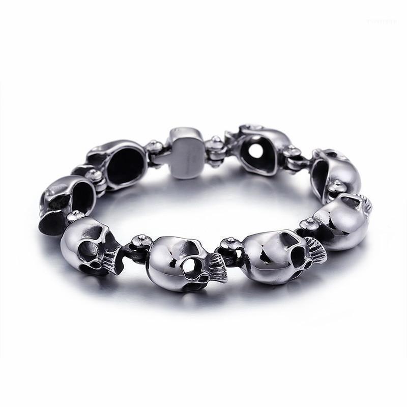 Punk 316 Acero inoxidable Cabezas de cráneo Charm Brazalete Brazalete para hombres Metal Biker Bracelets Jewelry Gothic Gifts1