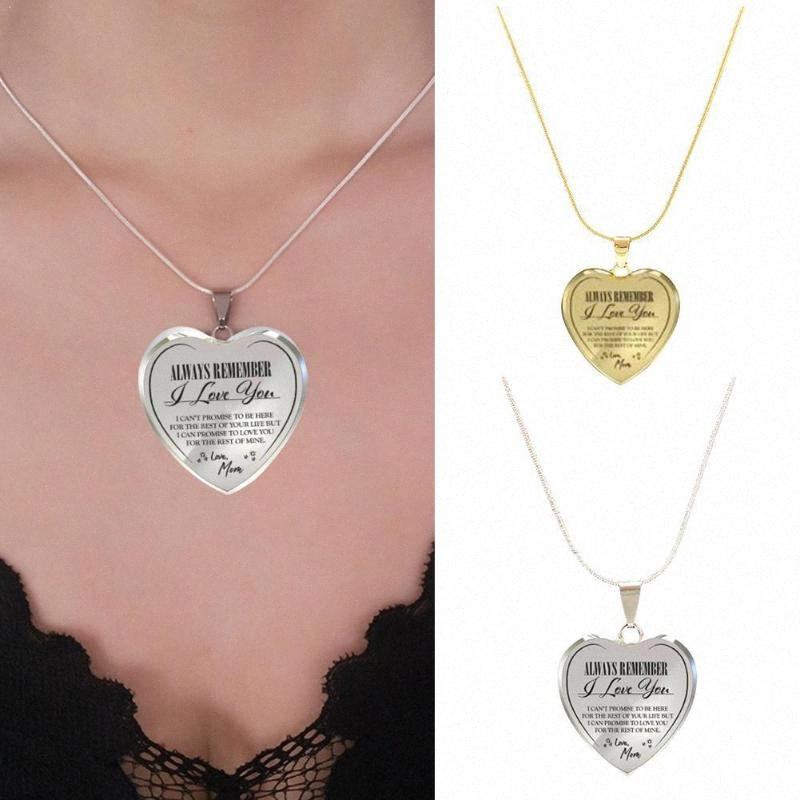 Collana Sempre di moda Ricordate I Love You Donne di amore della collana d'oro comma ciondolo clavicola Z7N2 NKhv #