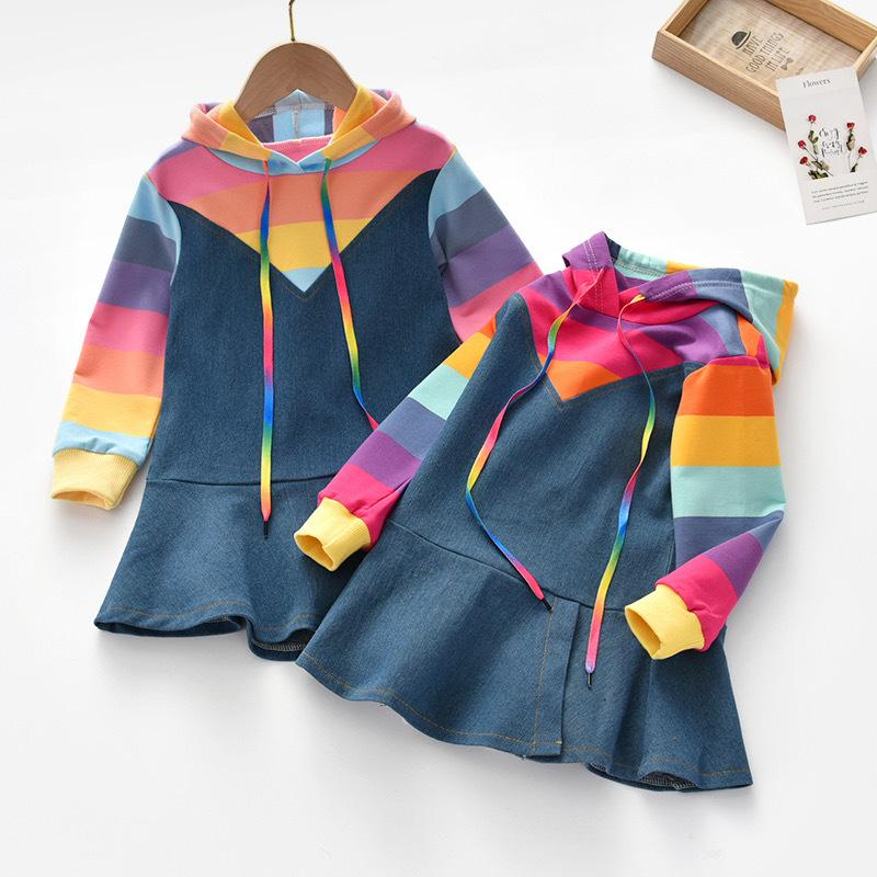 2020 Lovely Girls Designers Child Outdoor Apparel Cowboy Rainbow Colorful Dresses Princess Clothes Hoodies Jeans Dress