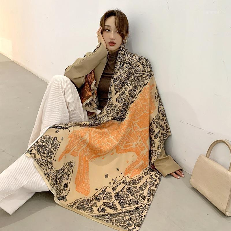 Scarves Winter Warm Scarf For Women Cashmere Shawls Lady Wraps Brand Printed Thick Blanket Female Bufanda 2021 1