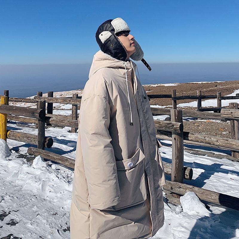 PR Зима 2020 Мужчины с капюшоном Длинные сгущаться PARKAS Мужская хлопок проложенный одежды Корейский Streetwear Сплошной цвет Женщина Теплая одежда