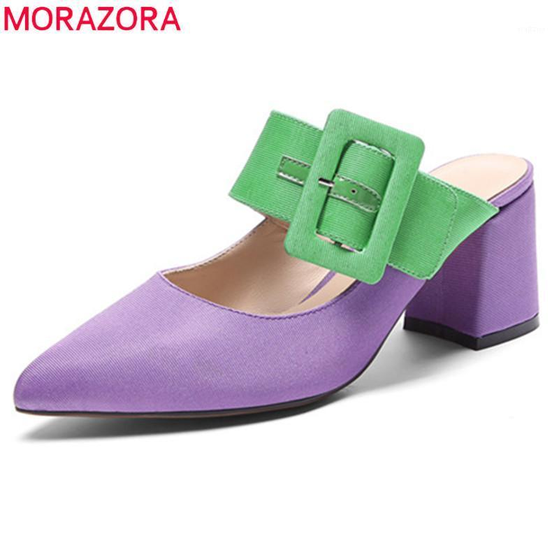 MORAZORA 2020 newest women pumps silk pointed toe buckle square high heel party wedding shoes ladies mules shoes big size 421