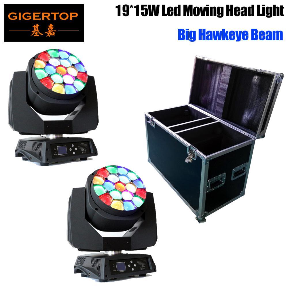 2adet / lot Büyük Arı Eye ile Uçuş Muhafazası 2in1 Ambalaj kafa zoom fonksiyonu 4-60 derece RGBW 4IN1 19x15W Işın etkisi ışık hareketli led