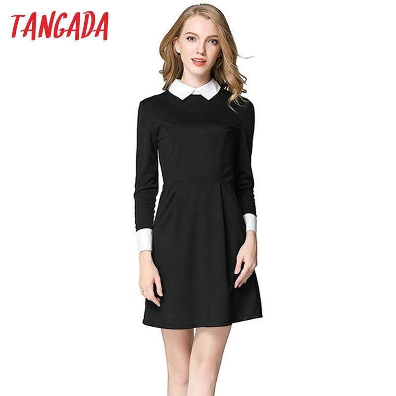Tangada Winterschule Kleider Mode Frauen Büro Schwarzes Kleid mit weißem Kragen Casual Slim Vintage Marke Vestidos Y200102