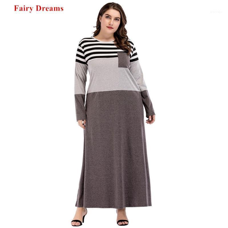 Moslim Abayas Women Plus Size Clothing Striped Patchwork 2018 Autumn Long Dress Kaftan Islamic Dubai Maxi Dresses Fairy Dreams1