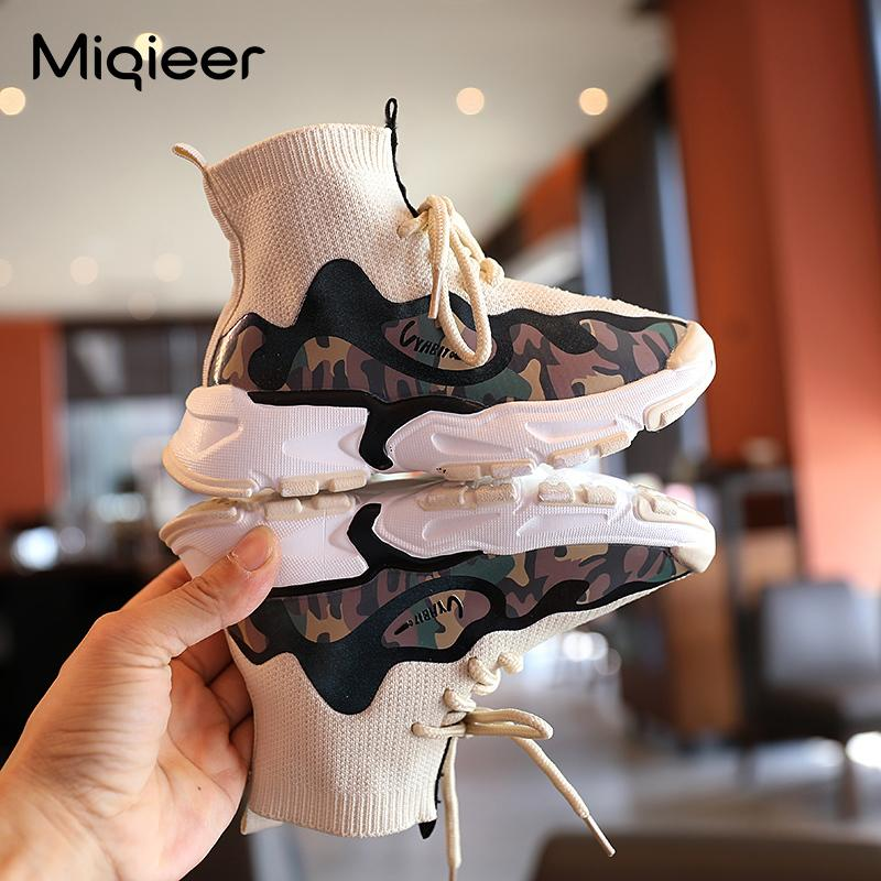 Случайные детские трикотажные туфли Детские мягкие нескользящие кроссовки для девочек облегченные носки ботинки лодыжки мальчики сетки дышащие бегущие спортивные туфли C0120
