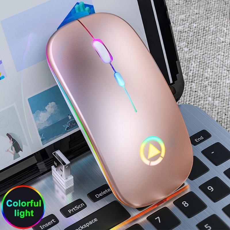 Slim Accessories Adjustable DPI USB Rechargeable Laptop PC 2.4GHz Portable Silent Colorful LED Wireless Mouse Optical Ergonomic