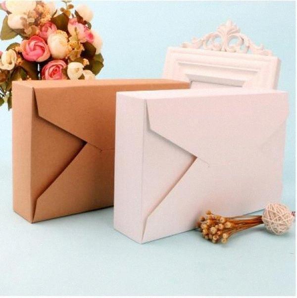20шт Браун белый конверт коробка Подарочная коробка Упаковка для сладостей Конфеты Бумага для Cookie представляет Картонная Caixa vHEf #