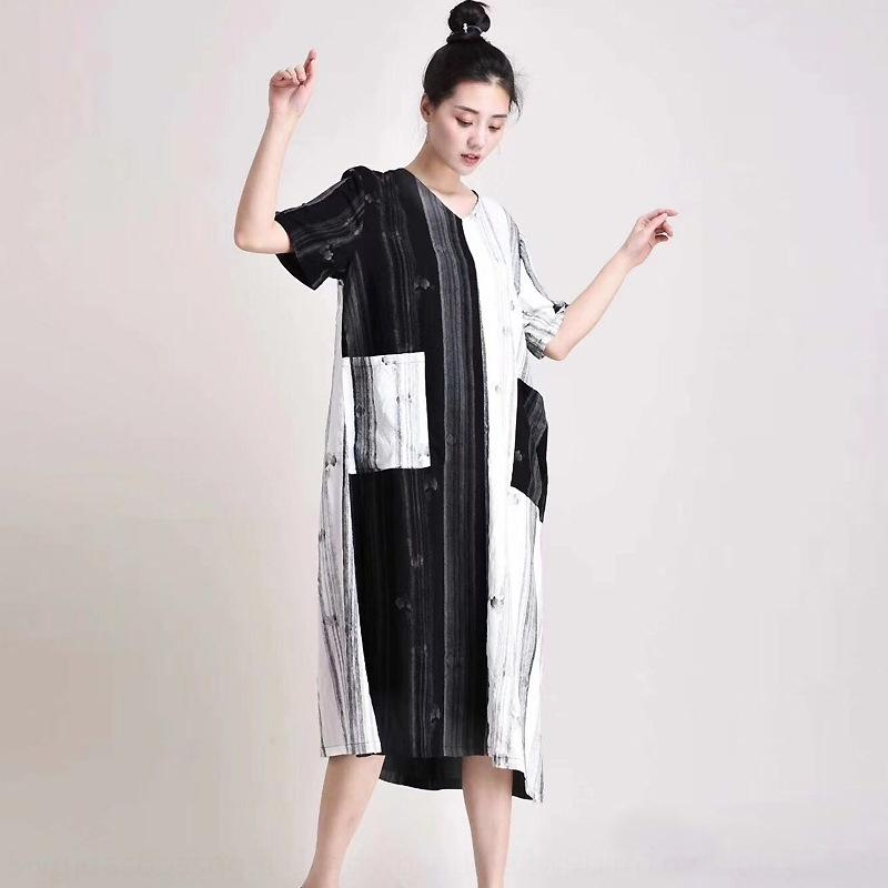 Мамы 2019 нового лето лоскутного цвета платье dressNational dresscontrast хлопок конопли платье большого рыхлый тонкий национальный стиля женской юбку EOvB