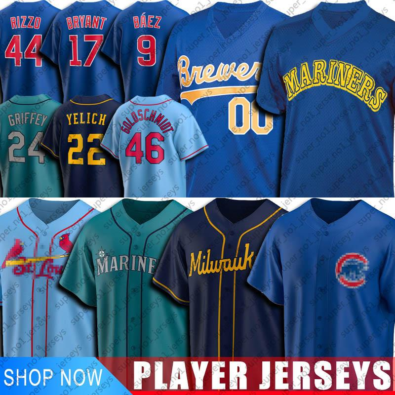 Cubs Javier Baez Anthony Rizzo Jersey Mariners Ken Griffey Jr Brewer Christian Yelich Jerseys Cardeal Paul Goldschmidt Yadier Molina Jersey