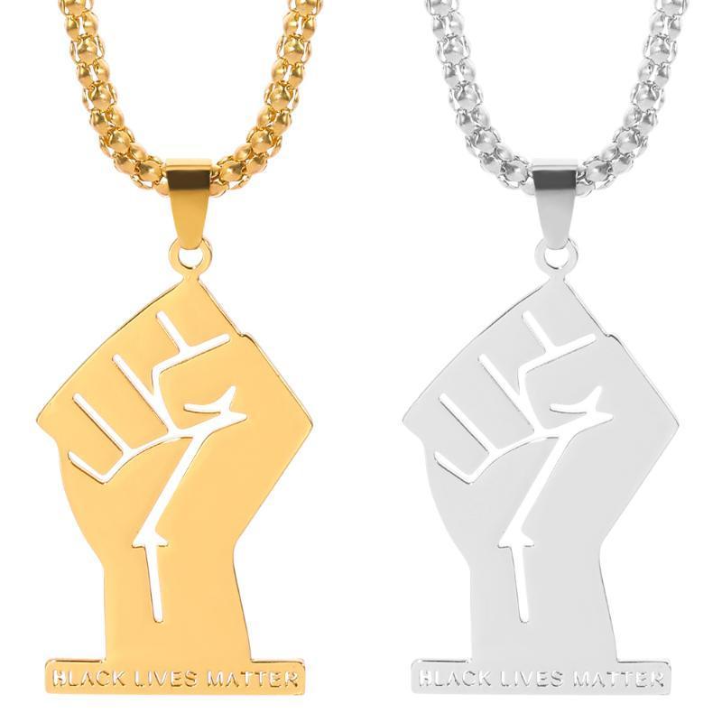 Vies noires Matière Colliers Pendentif femme africaine hommes d'or Poing couleur Collier Afrique en acier inoxydable Ornement Bijoux cadeau