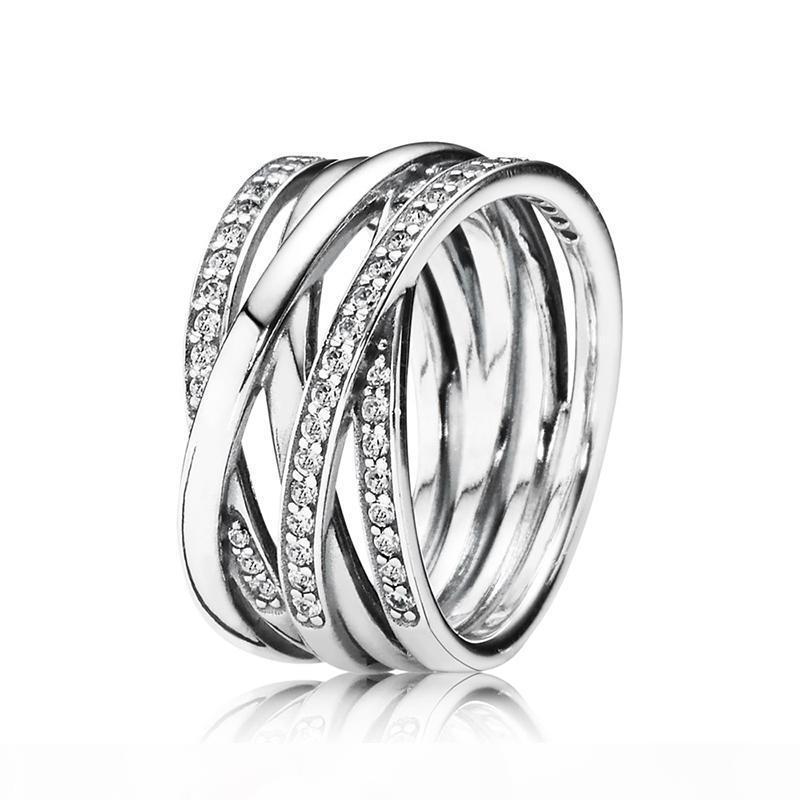 925 Sterlingsilber-Frauen-Ring-Rose Gold Entwining Ringe CZ für Pandora Art Frauen Hochzeit Geschenk Feinen Europa Schmuck
